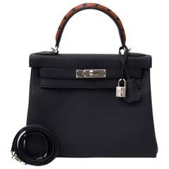 Hermès Kelly 28 Veau Togo/Box/Chevre Indigo/Noir/Indigo/Cuivre