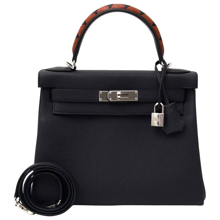 Hermès Kelly Galop 28 Veau Togo/Box/Chevre Indigo/Noir/Indigo/Cuivre