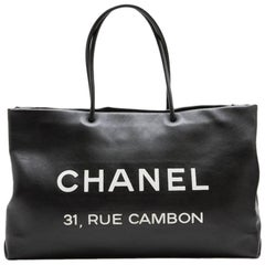CHANEL Tote Bag in Black Smooth Leather