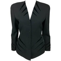 Thierry Mugler Black Wool Jacket With Velvet Details, 1980s