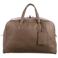 Hermes New Leather Men's Carryall Travel Weekender Duffle Tote Handle Tote Bag