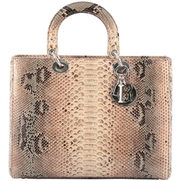 ac5cacb6d9 Christian Dior Lady Dior Handbag Python Large at 1stdibs