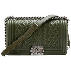 "Chanel Green Leather ""Boy"" Bag"
