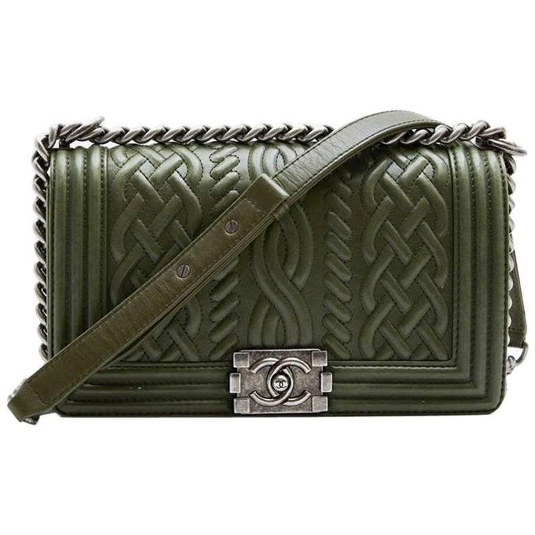 """Chanel Green Leather """"Boy"""" Bag"""