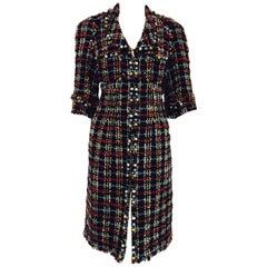 Colorful Chanel Multicolor Boucle Dress Coat w/ Large Faux Semi Precious Stones