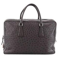 Prada Zip Around Briefcase Ostrich Large