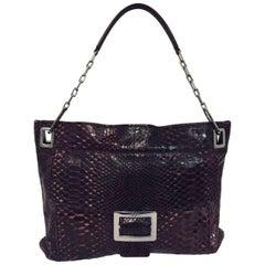 Recognizable Roger Vivier Metro Medium Burgundy Python Handbag