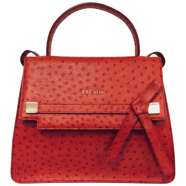 Exceptional Escada Cherry Embossed Ostrich  Structured Leather Handbag