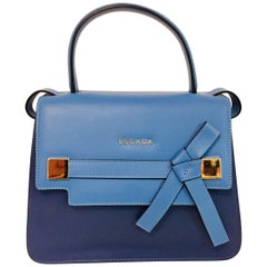 Extraordinary Escada Three Tone Blue, Navy & Burgundy Leather Handbag