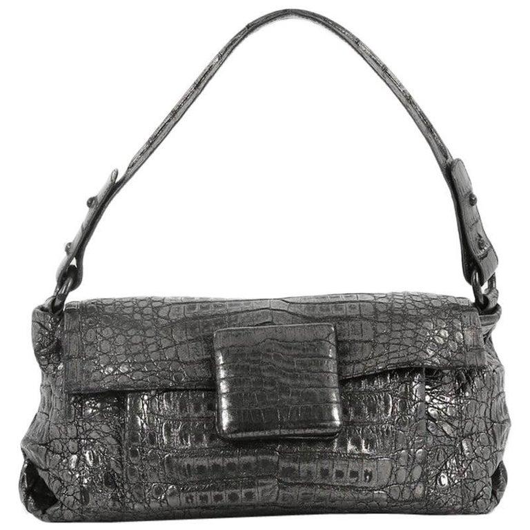 Nancy Gonzalez Flap Shoulder Bag Crocodile Small