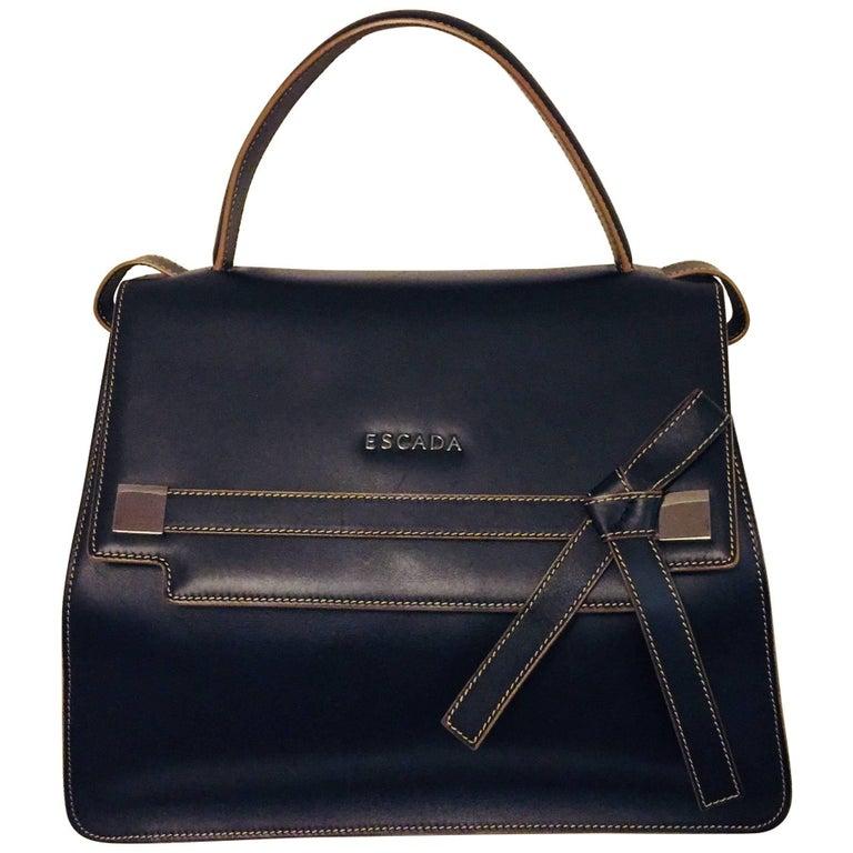 Elegant Escada Two Tone Black and Tan Leather Structure Handbag