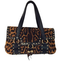 Yves Saint Laurent Leopard Print Pony Hair Leather Tote with Two Handles