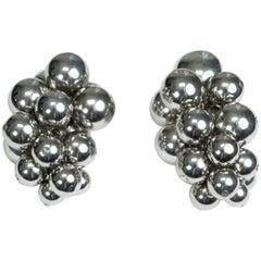 Oscar de la Renta Silver Ball Cluster Ear Clips, 21st Century