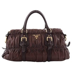 Prada Gaufre Convertible Satchel Nappa Leather Large