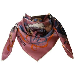 Hermès Scarf 70 cm Vintage Silk Le Bal Masqué Rosewood blue / Good Condition