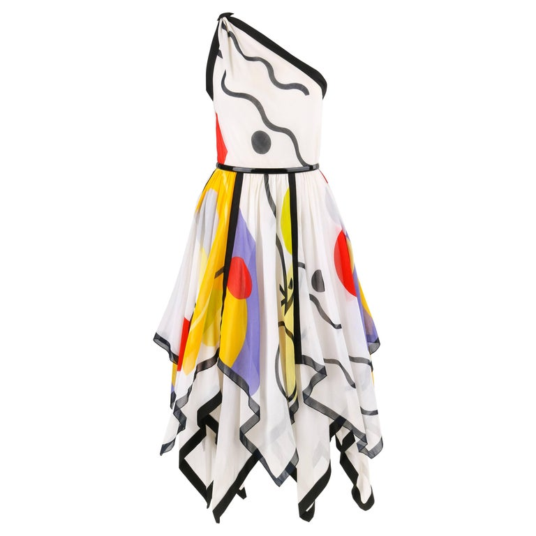 LOUIS FERAUD c.1990's White Geometric Print One Shoulder Handkerchief Hem Dress