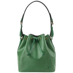 "LOUIS VUITTON c.1997 ""Petit Noe"" Green Epi Leather Drawstring Shoulder Bag Purse"