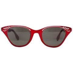 Tura Metallic Red Cat Eye Sunglasses, 1960s