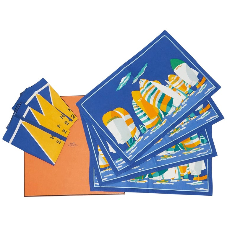 Blue & Yellow Vintage Hermes 8-Piece Napkin Set