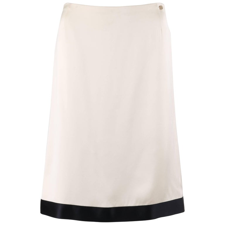 CHANEL A/W 2003 Off White & Black Silk Satin Classic Pencil Skirt