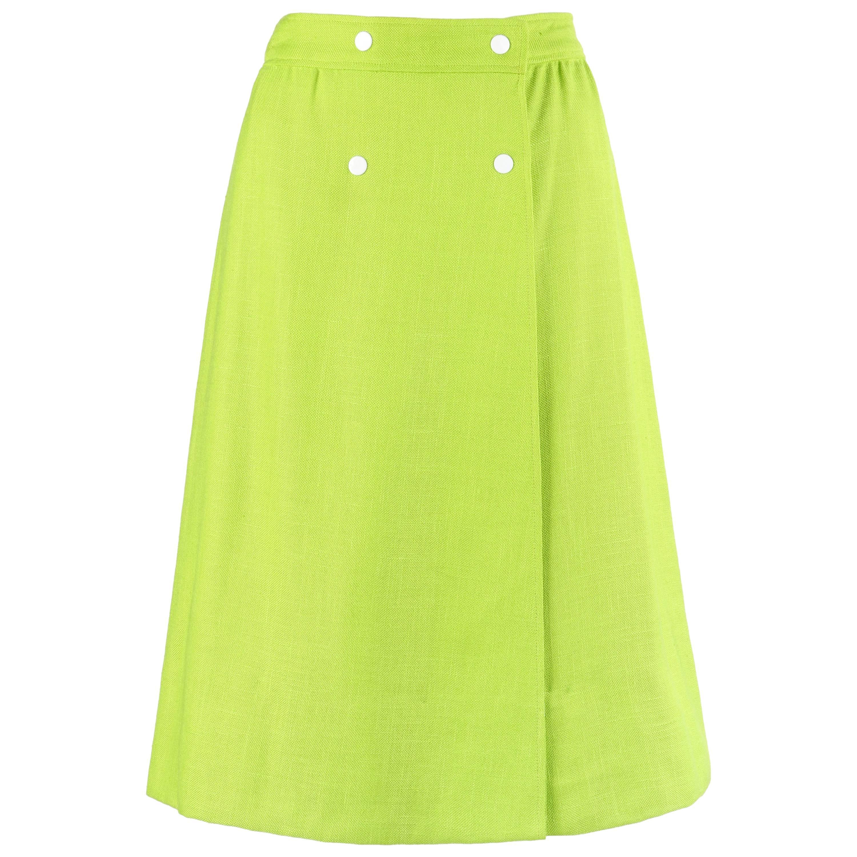 COURREGES Hyperbole c.1970's Lime Green Snap Front Tea Length Wrap Skirt