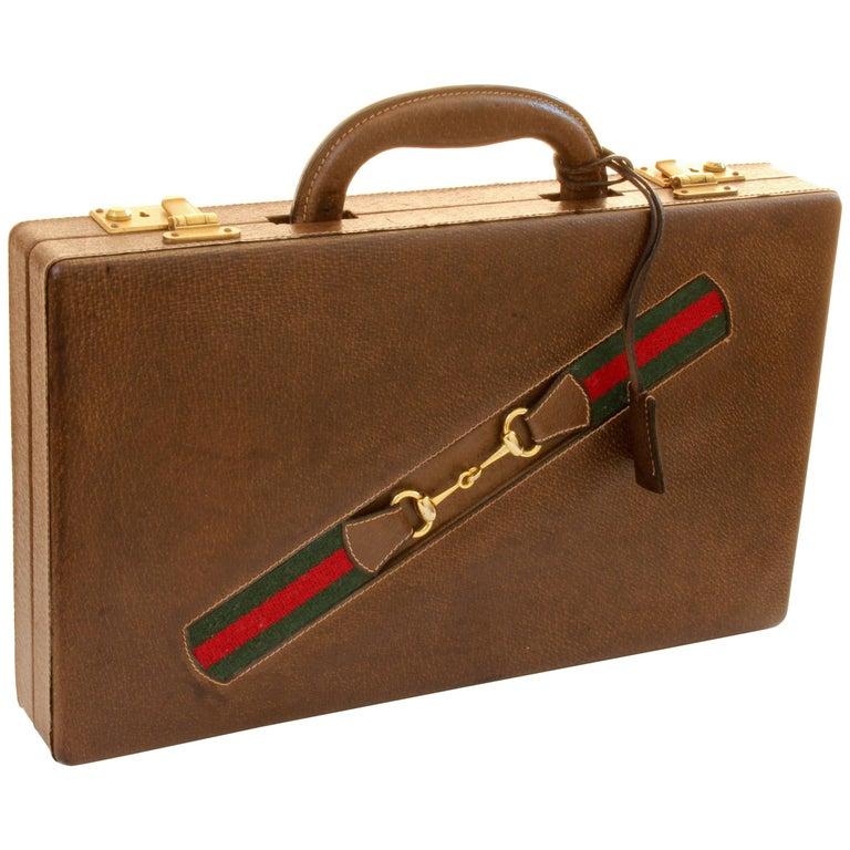 Gucci Backgammon Game Set Leather Travel Case Wood Board All Original 70s Rare