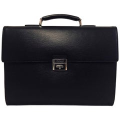 """Men's S.T. Dupont """"Line D"""" Double Gusset Briefcase in Black Contrast Leather"""