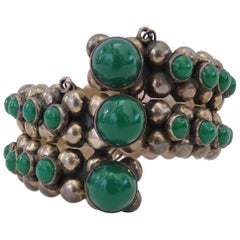 Gonzalo Moreno Vintage Sterling Silver and Jade Cuff