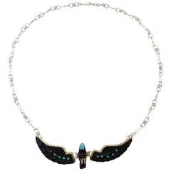 Navajo Onyx Hawk Necklace, 1980s