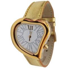 Yves Saint Laurent Heart Shaped Gold Watch, 1980s