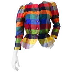 Rainbow Plaid Peplum Button Up Blouse, 1980s