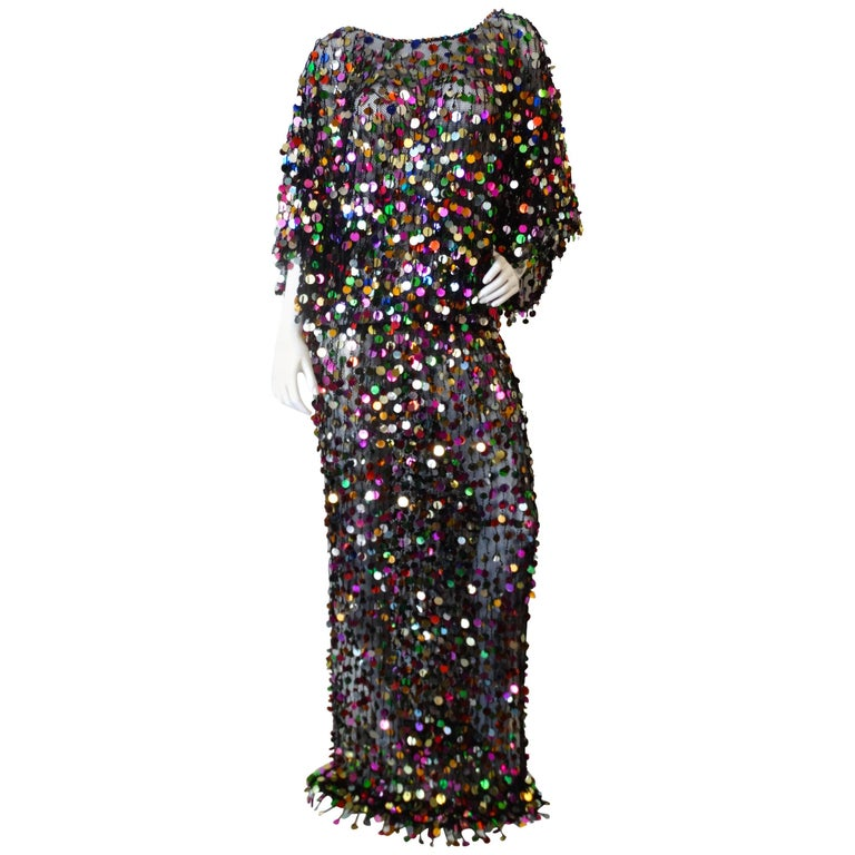 Rainbow Sequin Mesh Knit Gown, 1980s