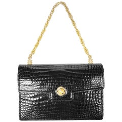 Gucci Black Crocodile Chain and Turn Lock Purse, 1960s