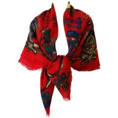 1980's Gucci Arabian Horse Print Wool Shawl