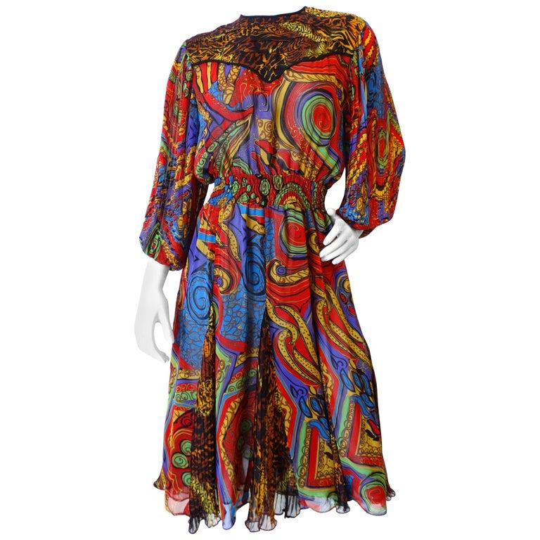 Diane Freis Leopard Swirl Printed Dress, 1980s