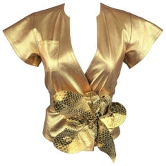 MARC JACOBS Spring 2011 Size 2 Metallic Gold Leather Wrap Flower Belt Dress Top