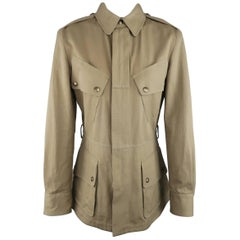 RALPH LAUREN Size 6 Olive Cotton Canvas Hidden Placket Collared Safari Jacket