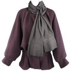 MARC JACOBS Size M Eggplant Purple Cashmere Taffeta Sash Collar Jacket