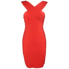 HERVE LEGER Size L Red Bodycon Cross Strap STELLA Bandage Cocktail Dress