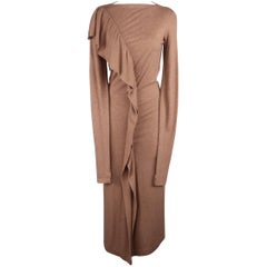 JEAN PAUL GAULTIER Size 8 Tan Wool/Rayon Ruffle Long Sleeve Maxi Dress
