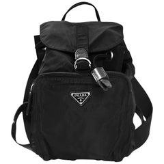 Prada Black Nylon Tessuto Small Backpack Bag