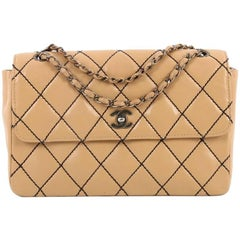 Chanel Surpique Flap Bag Quilted Leather Jumbo
