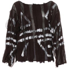 Tom Ford for Yves Saint Laurent Hand Painted Semi-Sheer Silk Top, S / S 2002