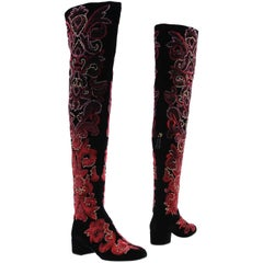 New Alberta Ferretti Velvet Beaded Embroidered Thigh High Boots 39