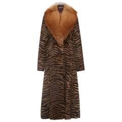New $16000 Roberto Cavalli Runway Arctic Fox Rabbit Tiger Print Long Coat It. 42