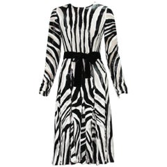 Tom Ford Fur-Like Zebra Print Semi-Sheer Belted Shimmer Pleated Dress It 38
