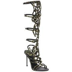 New Rene Caovilla Knee-High Swarovski Beaded Gladiator Sandals It 36 - US 6