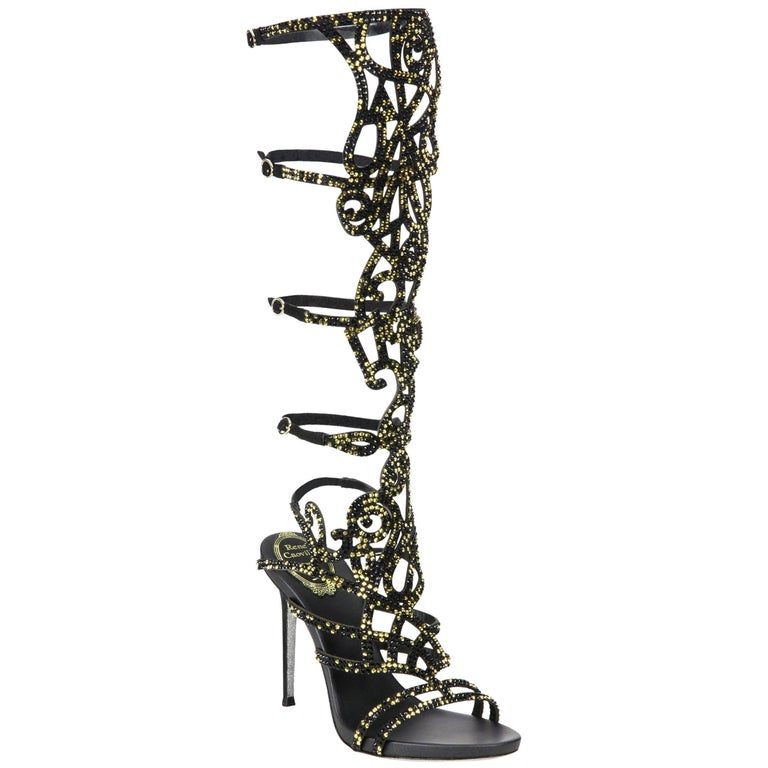 c7aacd8032f266 New Rene Caovilla Knee-High Swarovski Beaded Gladiator Sandals It 36 - US 6  For Sale at 1stdibs