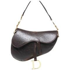 Dior Brown Ostrich Leather Saddle Bag