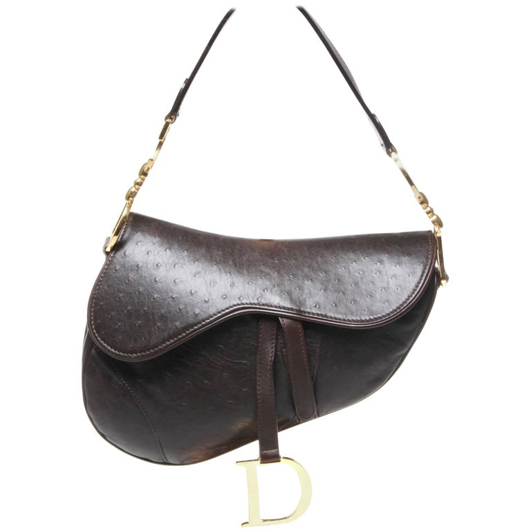 Dior Brown Ostrich Leather Saddle Bag